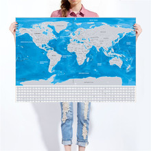 Deluxe World Map Vintage Poster retro painting Flag Travel Easy Scratchable off gift living room bar cafe wall sticker 82x59cm