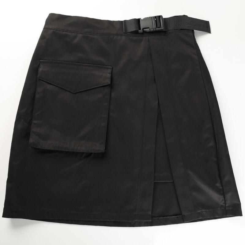 9Sweetown Black Korean Style Women Skirt Womens Vogue Belt High Waist Short Skirts Woman Sexy Cotton Split Side Summer 2018 Skirt