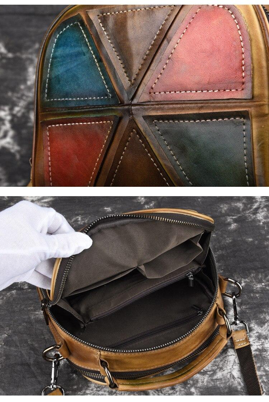 Woman Handmade Vintage Genuine Leather Handbags Ladies Retro Shoulder Messenger Bag Tanned Leather Hand-printed Womans Bag 8