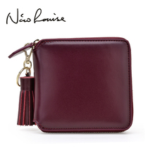 Luxury Tassel Real Split Leather Square Women Wallet Fashion Designer Wine Red Clutch Girl Purse Money Coin Card Holder Carteras