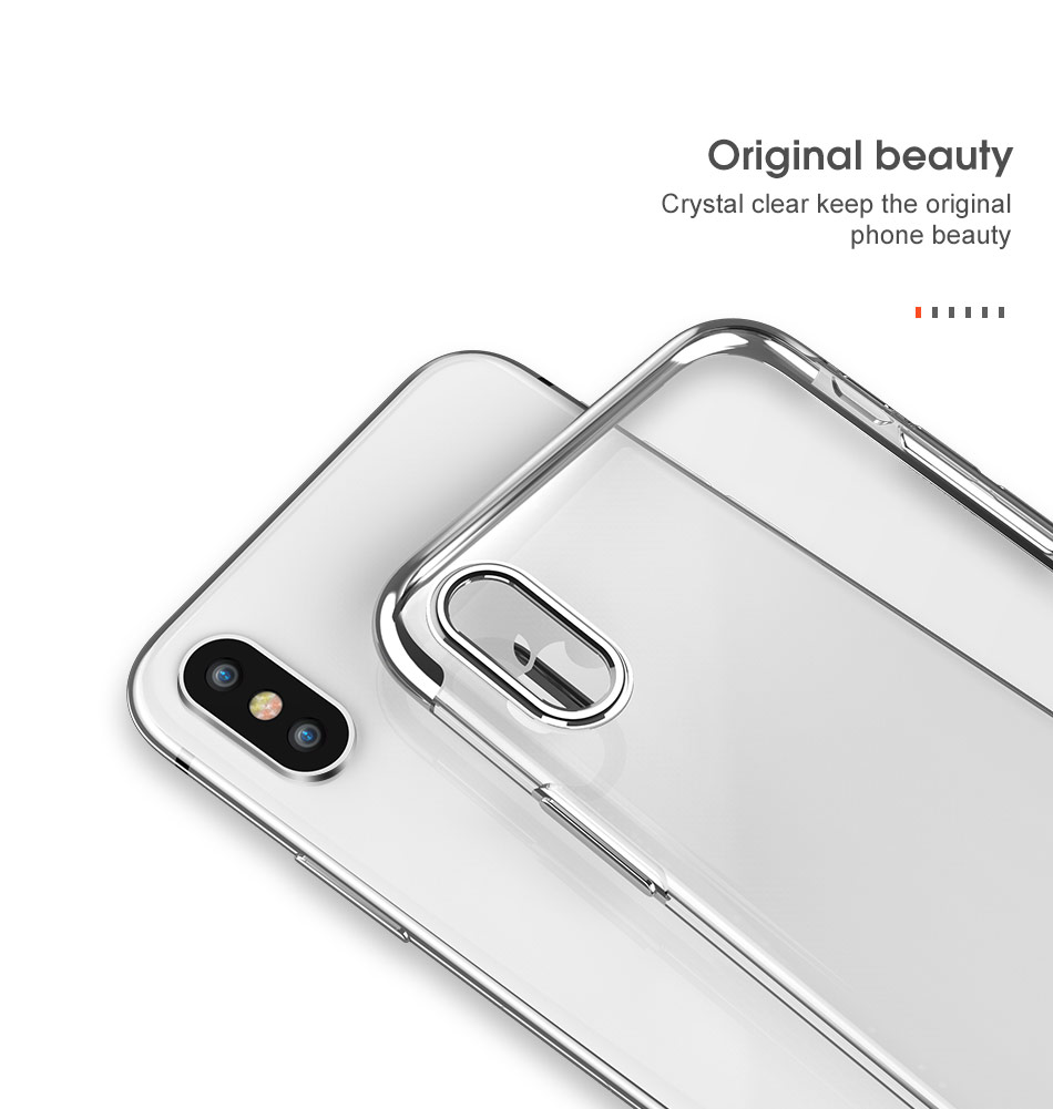FLOVEME Luxury Plated TPU Case For iPhone X 10 Transparent Ultra Thin Silicone Cover For iPhone 7 6 6S Plus Phone Accessories 10