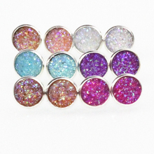 Handmade Druzy /Drusy Resin Dome Seals Cabochon Round Earrings Fashion Trendy Woman Jewelry 1Pair e073(China)