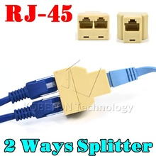 NEW Portable RJ45 Two Way Splitter Connector CAT5 CAT6 LAN Ethernet Splitter Adapter 8P8C Network modular plug for PC laptop