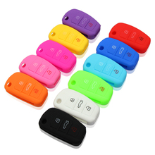 Remote Silicone 3 Key Shell Case Cover Flip FOB For AUDI A1 A3 A4 A5 A6 A7 S3 S4 S5 S6 S7 S8 QS5 Q3 Q5 Q7 R8 TT TTS car styling