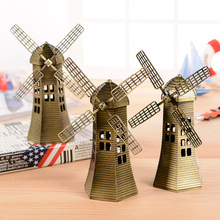 16.5cm Fashion Dutch windmill metal Craft home decoration Accessories ornament souvenir Famous architectural furnishing articles