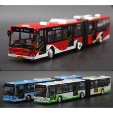 New 1:18 lengthened double bus alloy car model bus hinge bus pull back to the with sound and light car model gift for children
