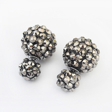 New Fashion Paragraph Hotselling Earrings 2014 Double Side 4 Color Stud Earrings Shining Jewellery For Women(China)