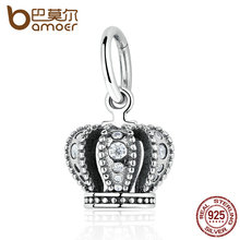 BAMOER 925 Sterling Silver SILVER PENDANT WITH CUBIC ZIRCONIA Crown Charms DIY Beads & Jewelry Makings Fine Jewelry PAS368(China)