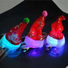 24pcs/lot toy hat mini Christmas ornaments gift for children luminous clip hat(China)