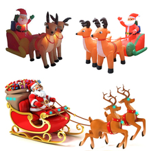 210cm Giant Inflatable Santa Claus Double Deer Sled Blow Up Fun Toys For Child Christmas Gifts Halloween Party Prop LED Lighted(China)