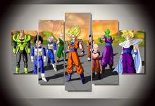 Framed Printed Cartoon dragon ball Group Painting wall art children's room decor print film poster canvas Free shipping/wo-371