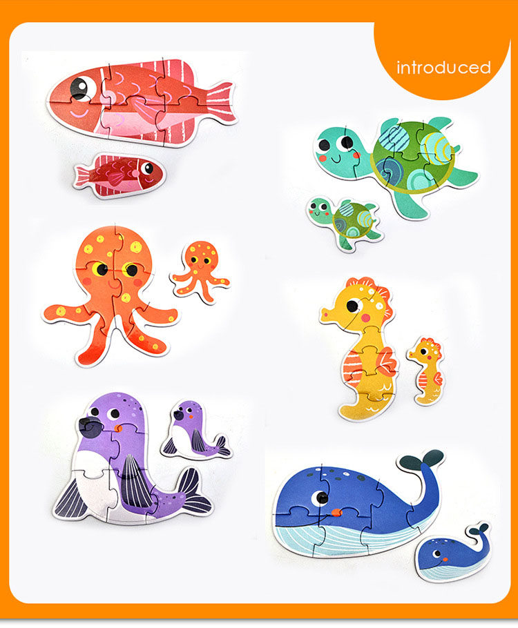 Baby Toys Cartoon Animal Paper Children Puzzle Children early learning Montessori education toys Puzzle for children 3 years 6