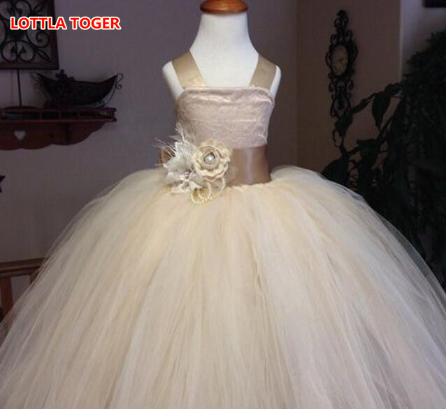 2017 tulle champagne baby bridesmaid flower girl wedding dress fluffy ball gown USA birthday evening prom cloth tutu party dress<br>