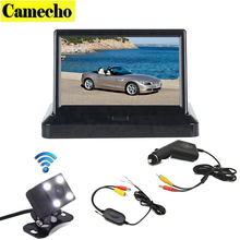 Wireless Car Backup Camera 4.3 Inch Foldable Car TFT LCD Rear View Monitor Parking System + Night Vision Rearview Backup Camera