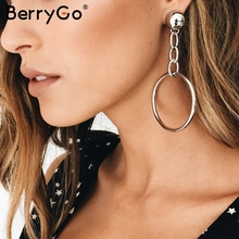 BerryGo Vintage round-shaped fine earring female Fashion hollow out beads gold jewelry Chic party women's clothing accessories(China)