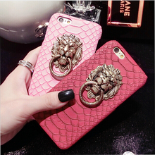 Fantasy Chinese Lion Head Hard Case For Apple iPhone 5 5S 5G SE Funncy Metal Ring Holder Snake Skin Cover For iphone 5s SE