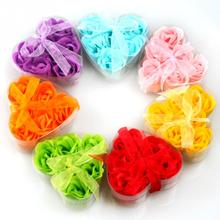 6Pcs Random Handmade Soap Flower Heart Scented Bath Body Petal Rose Flower Soap Wedding Decoration
