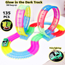 Slot DIY Electric Glow race track 360 Stunt Loop Flexible Assembly Glow in the Dark Car Track with Light-Up Race Vehicle Series(China)