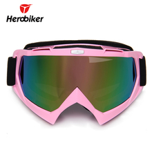 HEROBIKER Women Motorcycle Glasses Pink Motocross Goggles Riding Motor Googles  Moto Cross Snowmobile Goggles Ski Helmet Goggles