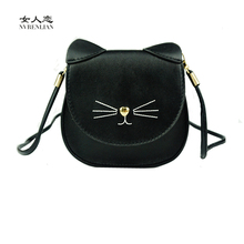 children bags handbags girls cat shoulder bag of famous designer brand small mini pink blue black kids candy color girl gift(China)