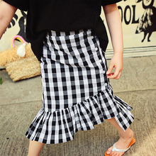 ruffles cotton baby teenage girls skirts mermaid white blue plaid long kids skirts for girls autumn spring children clothing(China)