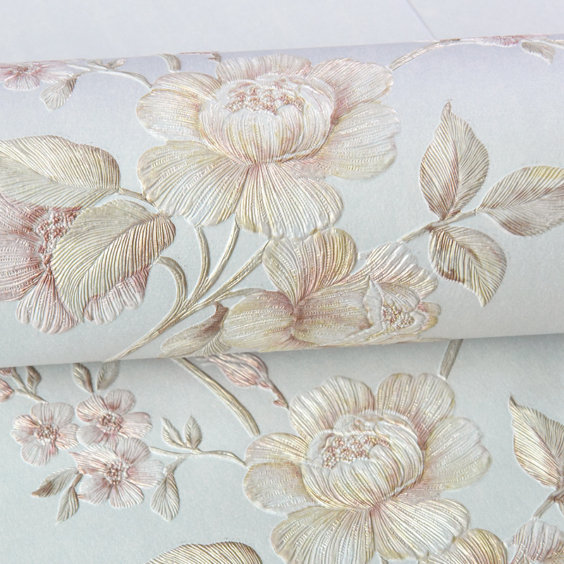 Chinese Style Nonwoven Wallpaper 3D Big Flower Bedroom Living Room TV Set Blue Green Pink Yellow Beige Wall Paper<br>