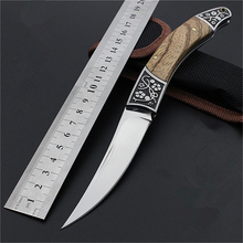 High-carbon steel Hand made Folding Pocket Hunting Knife 21cm 56HRC Wood Handle Survival Camping Tactical Rescue Knives Tools(China)