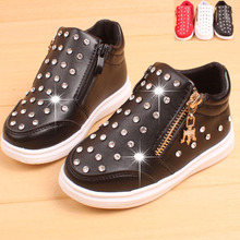 Baby rhinestone pu shoes autumn spring and winter kids shoes  girl black shoes  boys&girls zipper shoes for baby girls 3-5 years