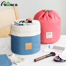 2 in 1 Portable Drawstring Cosmetic Makeup Storage Bag Professional Barrel Shaped Travel Make Up Toiletries Wash Bags Organizer