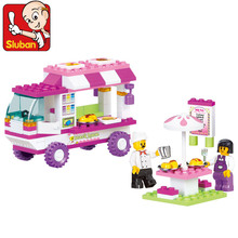 Candice guo plastic toy building block play snack house car educational hand work fancy assemble model baby birthday gift 1set