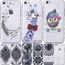For Apple iPhone SE 5S 5C 5 S C iPod Touch 6 5 Silicon Shell Cover Case Giraffe Bear Smile Plum Bird Capinha Etui Coque Hoesje(China)