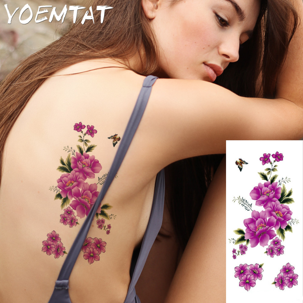 25 style flower arm shoulder tattoo stickers flash henna tattoo fake waterproof temporary tattoos sticker women 9