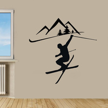 New arrival Skiing Sticker Winter Sports Decal Muurstickers Posters Vinyl Wall Decals home Decor Mural Skiing Sticker