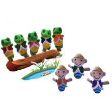 8Pcs The Boy And Frogs Storytelling Good Toys Hand Puppet for Baby's Gift Finger toys for children Soft baby toys(China)