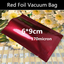 200pcs 6cmx9cm 170micron Small Foil Vacuum Red Bag 3 Sides Foil Packaging Bag Coffee Beans/Freezer/Dry Goods Storage Bag