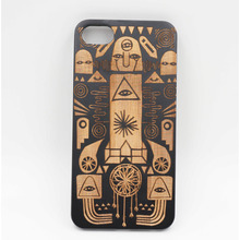 Wooden Phone Case Egyptian pharaohs Zuma Wood Laser Engraving Design Border Material Matte Plastic PC For iPhone 6 6s 7 Plus