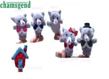CHAMSGEND 6pcs Finger Hand Puppets Plush Toys For Kids Cat Animal Finger Gloves puppets baby toys reborn dolls Toy Oct1