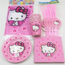 Hello Kitty Decoration Paper Napkins Tablecloth Baby Shower Kids Favors Cups Plates Birthday Straws Party Supplies 39pcs\lot
