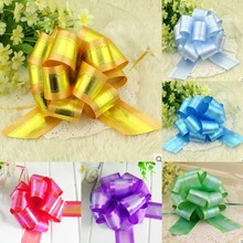 30pcs Rainbow Color Large 5cm Pull Bow Ribbons Wedding car Party Decorative Pull Flower ball Christmas Gift Packing bowknot