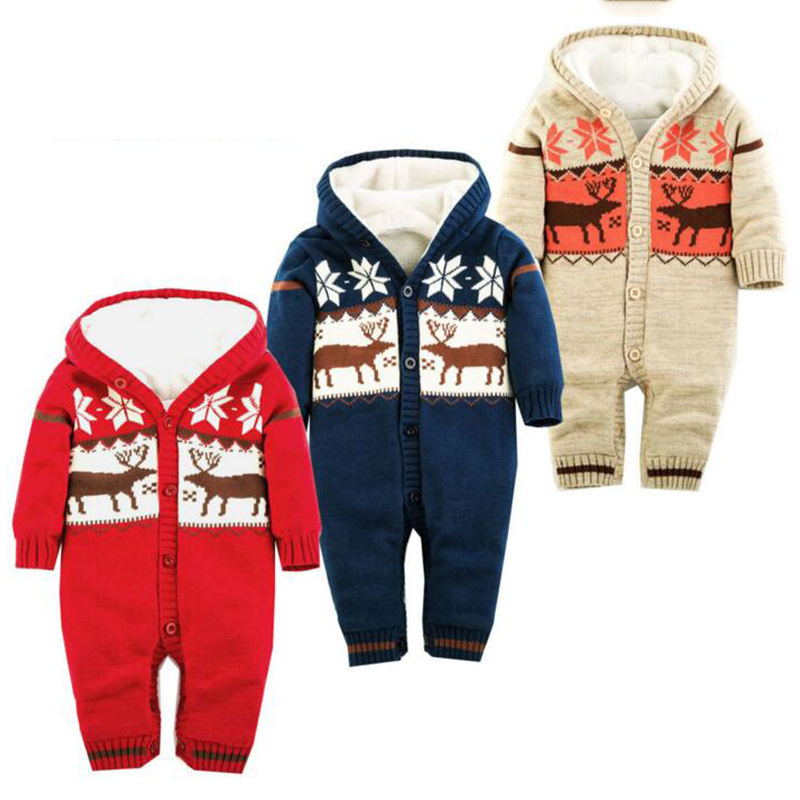 newborn baby boy girl clothes new winter baby warm knitted rompers Christmas deer printed hooded thickening outwear jumpsuit<br>
