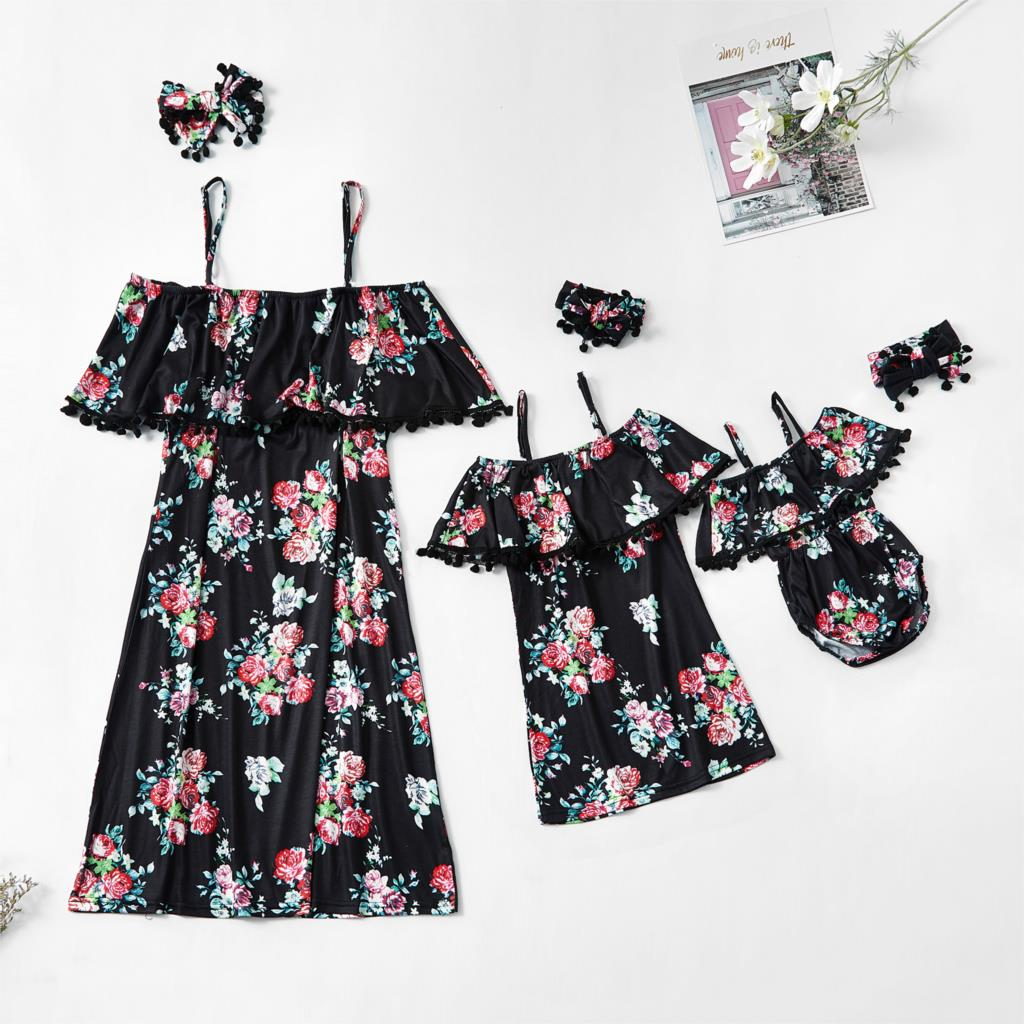 Dress Family Outfits-Look Flower Daughter-Dresses Mom Matching Mum Baby-Girls Mommy Mama title=