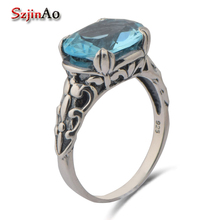 Szjinao queen royal sculpture 925 sterling silver series ancient silver moonlight blue crystal female rings for women(China)