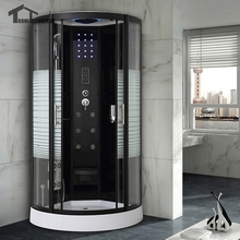80cm Luxury Shower Cubicle Bathroom Quadrant NO Steam  Enclosure Bath Cabin Room Jetted Massage Walking-in 137 BLACK White