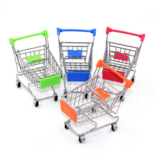 Mini Supermarket Handcart Shopping Utility Cart Mode Storage Toy stainless steel Pen Holders Desk Accessories Cylindrical case