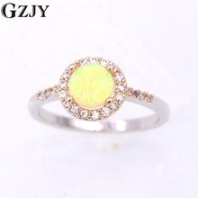 GZJY Beautiful Simple Round Charm Yellow Fire Opal Zircon Gold Color Finger Ring For Women Weding Party Jewelry(China)