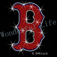 Free shipping  B letter  for sport logo hot fix rhinestones Iron on heat transfer red with white and dark blue