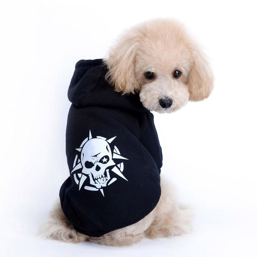 Pet Dog Clothes Winter Pet Puppy Black Skull Coat Dog Clothes Costume Jacket Hoodie XS-M Pet Dog Hoody Coat #(China (Mainland))