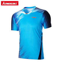 Kawasaki Professional Men Badminton T-Shirt V Neck Quick Dry Table Tennis T Shirts Short Sleeve Sports Clothes ST-171016