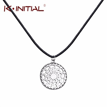 Kinitial 1Pcs Antique Sun Wheel Black Sun Kolovrat Pagan Amulet Slavic Symbol Warrior Talisman Pendants Necklaces Norse Jewelry