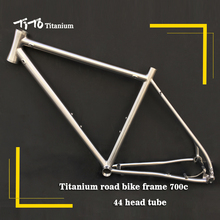 Free shipping !!! TiTo titanium road bike frame 700C titanium 44 tapered head internal shifter housing hidden disc brake bicycle(China)
